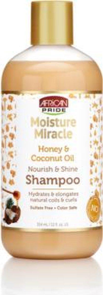 African Pride Moisture Miracle Honey & Coconut Oil Nourish & Shine Shampoo 384ml